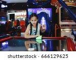 pretty little child playing... | Shutterstock . vector #666129625
