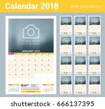 vector calendar planner... | Shutterstock .eps vector #666137395
