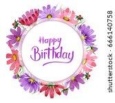 wildflower kosmeya flower frame ... | Shutterstock . vector #666140758