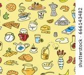 morning breakfast doodle... | Shutterstock .eps vector #666143482