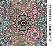 patchwork pattern. vintage... | Shutterstock .eps vector #666160312