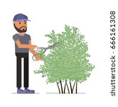 lawn mower.  vector... | Shutterstock .eps vector #666161308