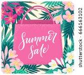 shopping paper bag  palm leaves ... | Shutterstock .eps vector #666163102