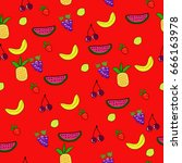 seamless fruit pattern on a red ...   Shutterstock .eps vector #666163978