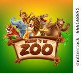 zoo safari illustration | Shutterstock .eps vector #666168892