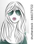 vector portrait of beautiful... | Shutterstock .eps vector #666173722
