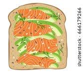 avocado salmon toast. delicious ...   Shutterstock .eps vector #666179266