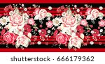 seamless border with pale roses ... | Shutterstock .eps vector #666179362