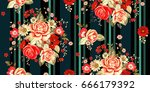 seamless pattern with pale... | Shutterstock .eps vector #666179392