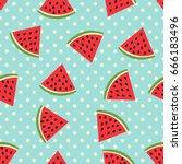 watermelon seamless pattern... | Shutterstock .eps vector #666183496