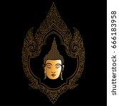 thai traditional ornament. head ... | Shutterstock .eps vector #666183958