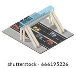 isometric highway traffic... | Shutterstock .eps vector #666195226