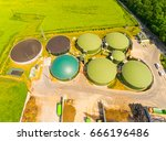 aerial view over biogas plant... | Shutterstock . vector #666196486