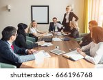 corporate business team and... | Shutterstock . vector #666196768