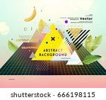 placard template with abstract... | Shutterstock .eps vector #666198115