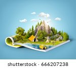 mountain in forest  green... | Shutterstock . vector #666207238