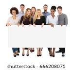 group of happy multiracial... | Shutterstock . vector #666208075