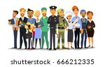 labor day. a group of people of ... | Shutterstock .eps vector #666212335