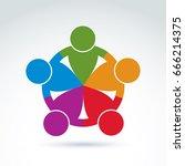 international business team ... | Shutterstock .eps vector #666214375
