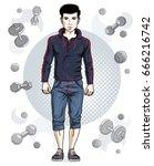confident handsome brunet young ... | Shutterstock .eps vector #666216742