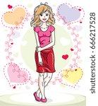 young beautiful blonde woman... | Shutterstock .eps vector #666217528