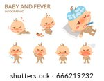 baby and fever. baby gets sick. | Shutterstock .eps vector #666219232