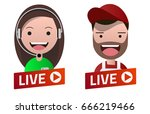 red gradient live stream sign... | Shutterstock .eps vector #666219466