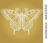 beautiful  butterfly for laser... | Shutterstock .eps vector #666223342