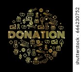 charity and donations. set with ... | Shutterstock .eps vector #666230752