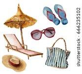 watercolor summer beach set.... | Shutterstock . vector #666235102