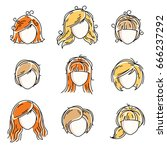 collection of women faces ... | Shutterstock .eps vector #666237292