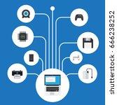 flat icons printer  laptop ... | Shutterstock .eps vector #666238252
