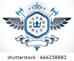 old style heraldry  winged... | Shutterstock .eps vector #666238882