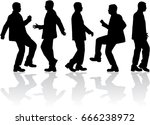 dancing male silhouettes. | Shutterstock .eps vector #666238972