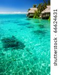 over water bungalows with steps ...   Shutterstock . vector #66624631