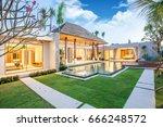 luxury exterior design pool...   Shutterstock . vector #666248572