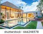 luxury exterior design pool... | Shutterstock . vector #666248578