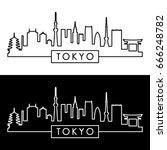tokyo skyline. linear style.