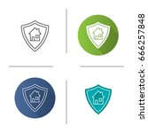 real estate security icon. flat ... | Shutterstock .eps vector #666257848