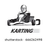racer in the kart in black and... | Shutterstock .eps vector #666262498