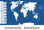 flat world map. divided into... | Shutterstock .eps vector #666264616