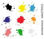 set color drops of paint and...   Shutterstock .eps vector #666270412