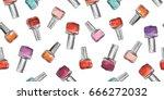 nail polish bottle seamless...   Shutterstock .eps vector #666272032