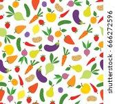vegetable icon seamless pattern.... | Shutterstock .eps vector #666272596