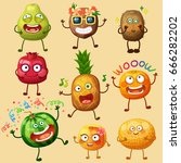 funny fruit characters isolated ... | Shutterstock .eps vector #666282202