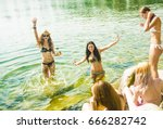 young group of people jumping... | Shutterstock . vector #666282742