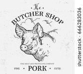 pig head  fresh pork organic...   Shutterstock .eps vector #666283036