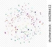 many falling colorful tiny... | Shutterstock .eps vector #666286612
