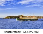 passenger ferry in the middle... | Shutterstock . vector #666292702