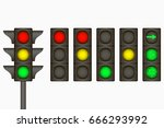 traffic light. electric sign... | Shutterstock .eps vector #666293992
